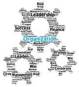 organization word cloud in shape of gears - stock illustration