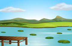 A jetty and a river Stock Illustration