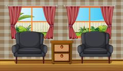 A cushion chairs and side table - stock illustration
