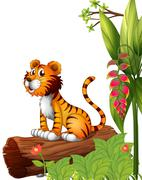 Stock Illustration of A tiger above a trunk