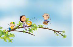 Kids singing - stock illustration