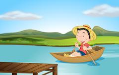 A boy rowing a boat - stock illustration