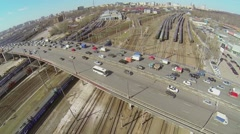 Cityscape with traffic on Rizhskaya overpass and railway Stock Footage