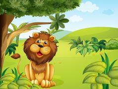 A lion near the big tree Stock Illustration
