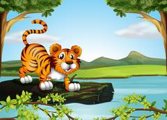 A trunk of a tree floating in the river with a tiger Stock Illustration