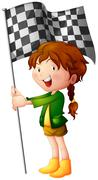 A smiling kid holding a flag - stock illustration