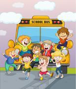 Happy children jumping for joy - stock illustration