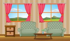 Cushion chairs and side table - stock illustration