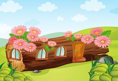 A wood house Stock Illustration