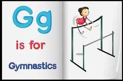 A picture of gymnastics in a book - stock illustration