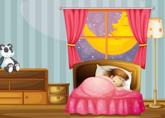 A sleeping girl Stock Illustration