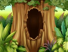 A big trunk of a tree with a hole Stock Illustration