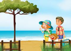 A family at the beach Stock Illustration