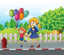 A young boy with balloons and a girl eating an ice cream Piirros