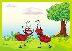 Two ants in nature Stock Illustration