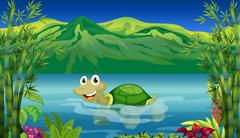 A turtle in the sea Piirros