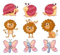A lion, a snail and a butterfly Stock Illustration