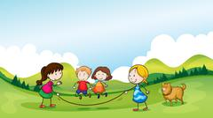 Children playing jumping rope - stock illustration