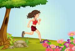 A girl running in a beautiful nature - stock illustration
