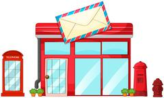 A post office, a mailbox, a telephone - stock illustration