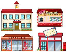 A school, donut store, sport shop and a post office - stock illustration
