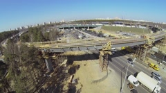 Construction site of Novoryazanskaya overpass at Belt Road Stock Footage