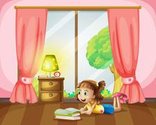 A girl reading a book Stock Illustration