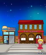 Kid, locksmith and fire station - stock illustration