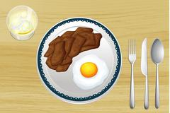 A meat and an omelet in a dish Stock Illustration