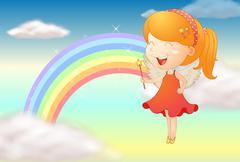 An angle girl and a rainbow - stock illustration