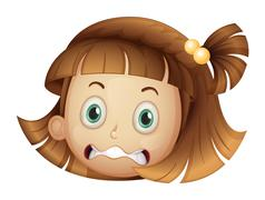 A face of a girl - stock illustration