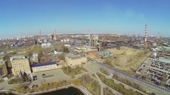 Panorama of Oil Refinery of Gazpromneft company Stock Footage