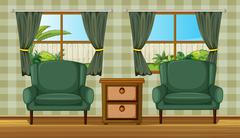 Cushion chairs and a side table Stock Illustration