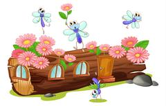 Flies and a wood house Stock Illustration