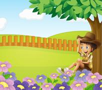 Stock Illustration of A boy sitting under a tree