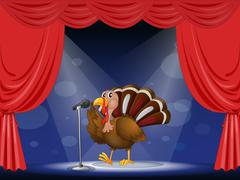 A turkey in the limelight - stock illustration