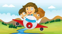 Kids riding in a plane Stock Illustration