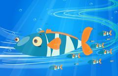 School of fish in the sea Stock Illustration