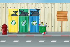 Stock Illustration of Dustbins, a fire hydrant and a notice board