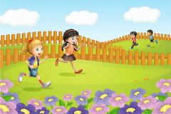Kids running on a field Stock Illustration