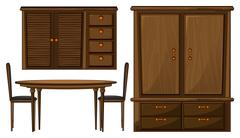 A dinning table and a wardrobe Stock Illustration