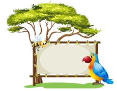 Stock Illustration of A parrot and a bee