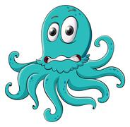 Comical octopus on white Stock Illustration