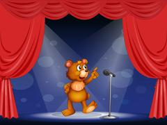 A bear performing on the stage Stock Illustration