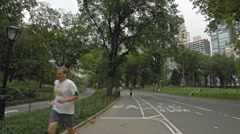 Central Park Jogging Path Bicycle Road Manhattan New York City NYC 4K Stock Footage