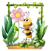A bee holding a pink flower - stock illustration