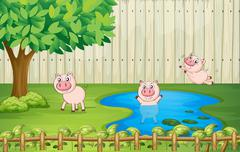 Pigs in the backyard - stock illustration