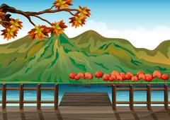 Stock Illustration of A seaport overlooking the mountains