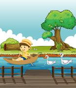 A boy riding on a boat followed by ducks - stock illustration