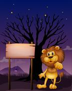 A lion and the wooden signboard in a dark neighborhood Stock Illustration